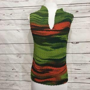 Nicola Medium Crinkle Stretch Green Orange Shirt